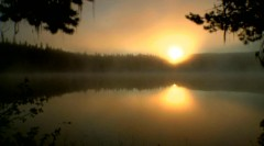 Time lapse video – Intense sunrise on the Forest Lake